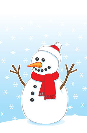 carrot nose: Happy Snowman with Carrot Nose and Stick Arms wearing Red Scarf and Santa Hat on Snowing Background