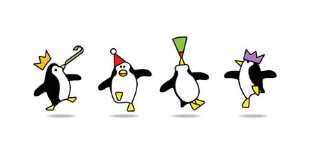 Illustration of Four Happy Penguins Dancing at a Party Vector