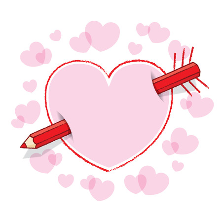 Diagonal Red Pencil Piercing Empty Drawn Love Heart like an Arrow with Drawn Feathers plus Pink infill and surrounding Pink Hearts Vector