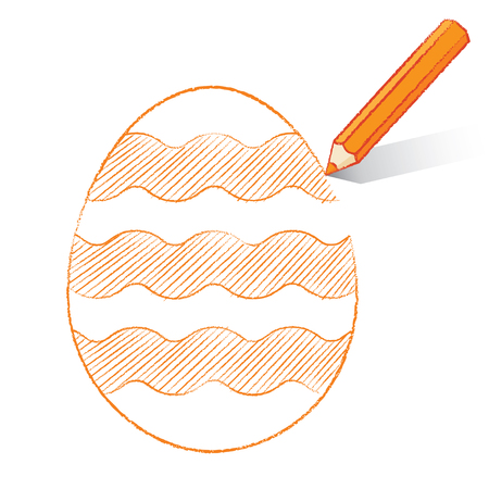 Orange Pencil with Shadow Drawing Easter Egg plus Wavy Stripes on White Background Vector