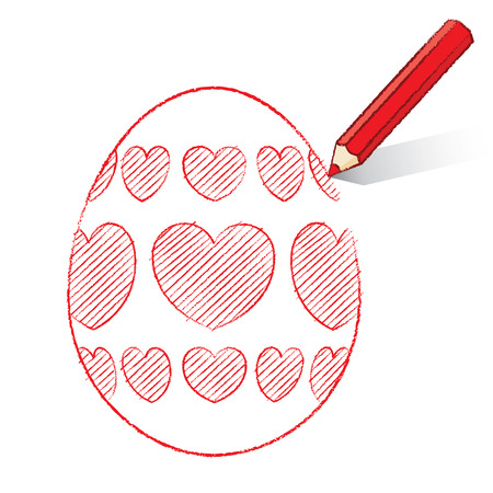 Red Pencil with Shadow Drawing Easter Egg plus Heart Decoration on White Background Vector