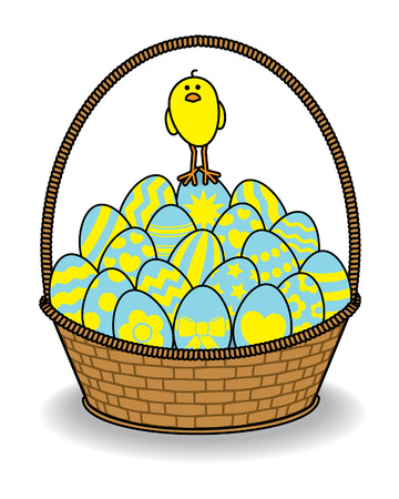 multiple birth: Cute Chick standing on a pile of Decorated Blue and Yellow Eggs in a Brown Wicker Basket