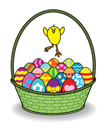 Single Chick Jumping over many Decorated Coloured Easter Eggs in a Green Wicker Basket Vector