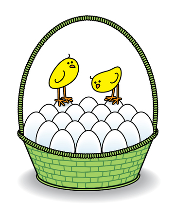 multiple birth: Two Cute Chicks in a Green Basket full of White Eggs