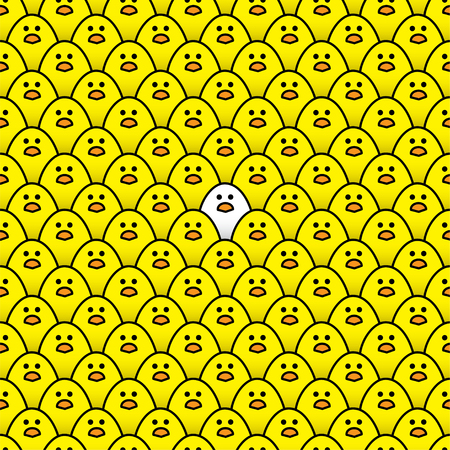 Single White Chick Surrounded by a Repeating Pattern of Staring Yellow Chicks
