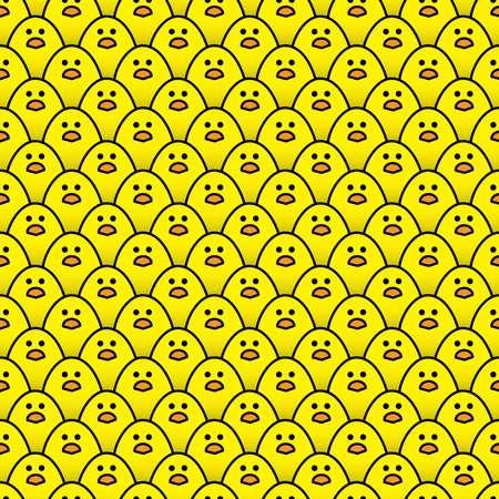 regimented: Repeating Pattern of Staring Little Yellow Chicks