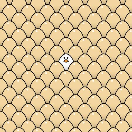 surrounded: Singolo Guardare fisso Bianco Chick circondato da uova Brown