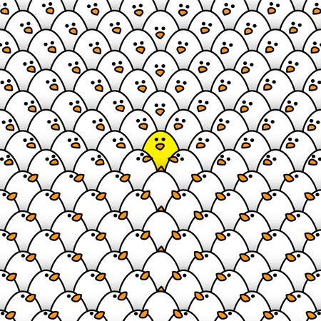 Een Geel Kuiken Omringd door White Chicks met alle Staren naar de Odd One Out Stock Illustratie