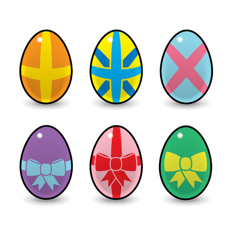 Six Colourful Easter Eggs Decorated with Bows and Ribbons Vector