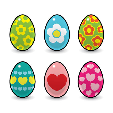 Six Colourful Easter Eggs Decorated with Hearts and Flowers Vector