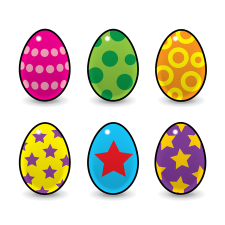 Six Colourful Easter Eggs Decorated with Stars and Spots Vector