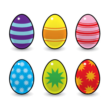 Six Colourful Easter Eggs Decorated with Stars   Stripes Vector