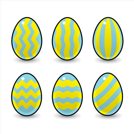 wobbly: Six Blue and Yellow Striped Decorated Easter Eggs
