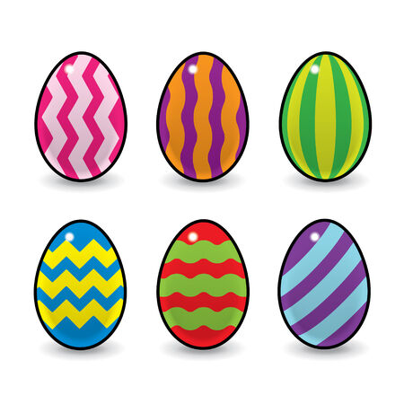 wobbly: Six Colourful Easter Eggs Decorated with Stripes Zigzags and Wavy Lines Illustration