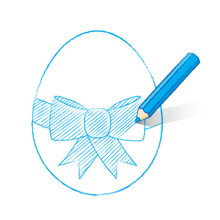 Blue Pencil with Shadow Colouring in Easter Egg with Bow Vector