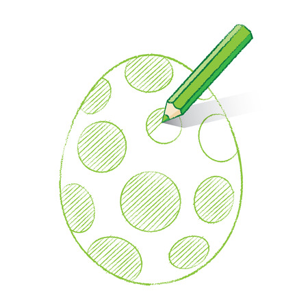 unfinished: Green Pencil with Shadow Colouring in Easter Egg with Spots
