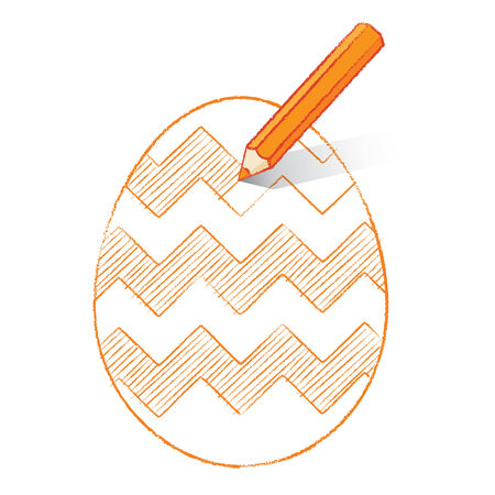 unfinished: L�piz de color naranja con la sombra del colorante en el huevo de Pascua con Zigzag Pattern Vectores