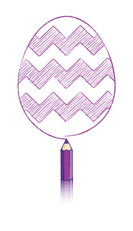 Purple Pencil with Reflection Drawing Easter Egg with ZigZag Pattern Vector