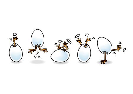 흰색 계란에서 부화 다섯 부활절 병아리 일러스트