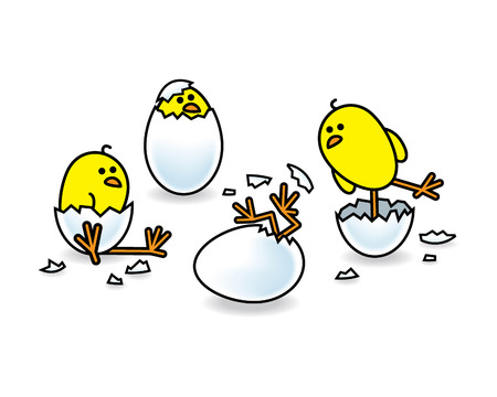 Four Easter Chicks Hatching from White Eggs Ilustrace