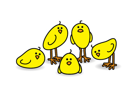 Five Small Cute Chicks in a group Staring towards camera Vector