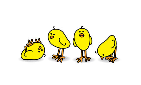Four Small Cute Chicks in a Casual Group Vector
