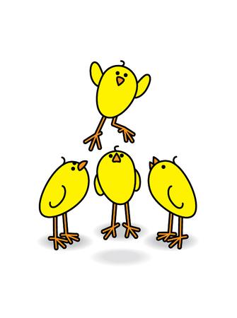 Drie kleine schattige kuikens kijken naar een ander Chick Leaping
