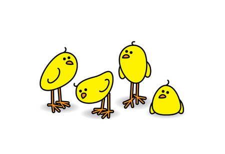 Four Small Cute Chicks in a Relaxed Group