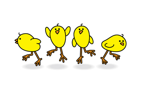 Vier Kleine schattige kuikens in een groep Verstrooiing