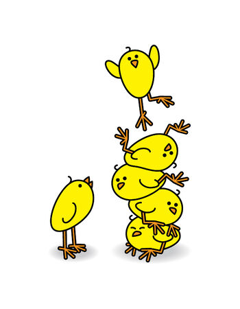 squashed: Cute Chicks stacked on top of each other with one Leaping off the top