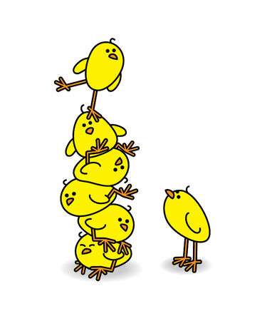 squashed: Cute Chicks stacked on top of each other with one Wobbling