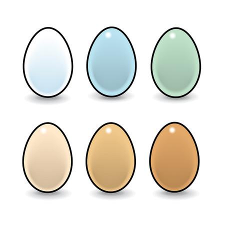 Illustratie van Zes Natuurlijke Eggson Witte Achtergrond Stock Illustratie