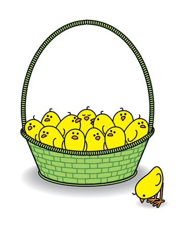 Many Cute Chicks in a Green Basket with one outside Pecking at the floor Vector