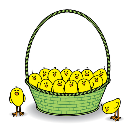 Many Cute Chicks in a Green Basket all Staring out at Camera Vector