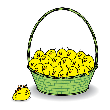 Many Cute Chicks in a Green Basket Staring at Chick that has Fallen out Vector