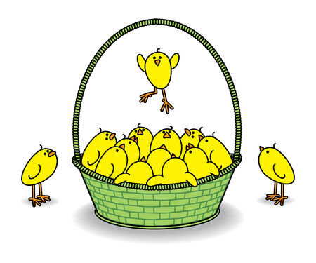 Many Cute Chicks in a Green Basket watching one Leap Vector