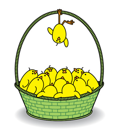 Cute Chicks in a Green Basket with one Hanging Upside Down from Handle Vector