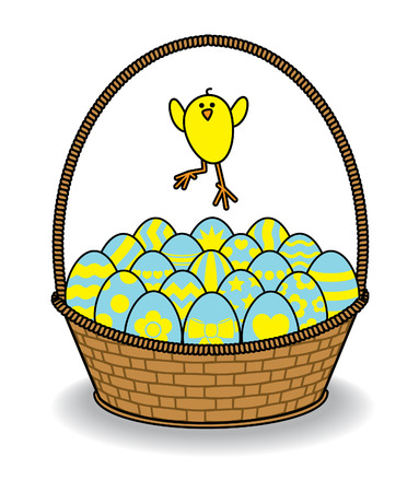 Cute Chick Jumping over Brown Wicker Basket full of Decorated Blue and Yellow Eggs Vector