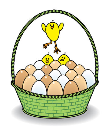 Cute Chicks with a Green Wicker Basket full of Natural Eggs Vector