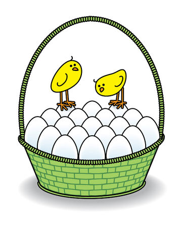 Cute Chicks in a Green Basket full of White Eggs Vector