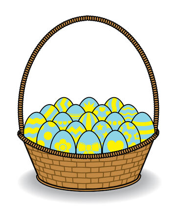 multiple birth: Brown Wicker Basket full of Decorated Blue and Yellow Eggs