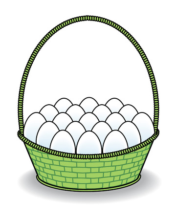 Many White Eggs in a Green Basket Vector