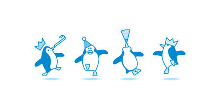 Four Happy Blue Penguins Dancing at a Party Vector