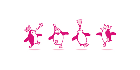 Four Happy Pink Penguins Dancing at a Party Vector