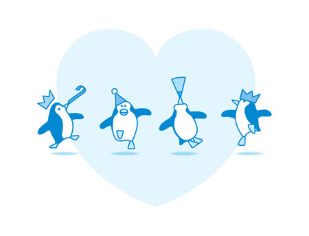 Four Happy Blue Penguins Dancing at a Party with Blue Heart on White Background Vector