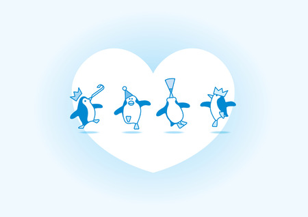 Four Happy Blue Penguins Dancing at a Party with White Heart and Soft Blue Background Vector