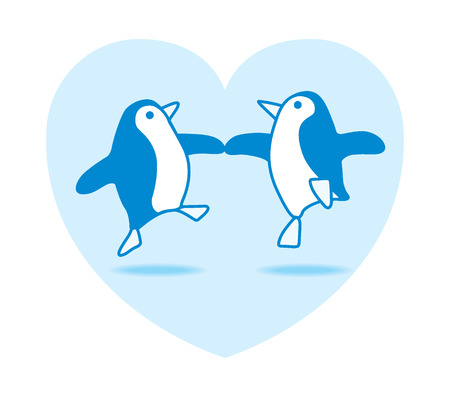 Two Happy Blue Penguins Dancing in a Blue Heart on White Background Vector