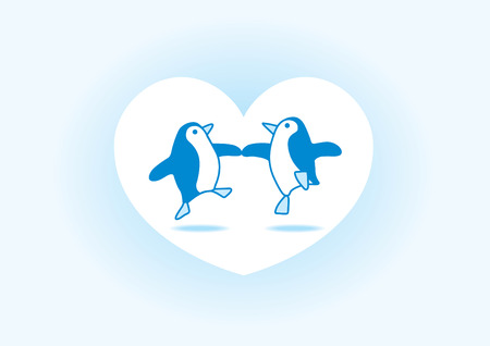Two Happy Blue Penguins Dancing in a White Heart on a Soft Blue Background Vector