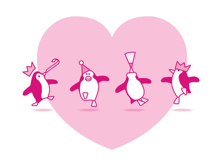 good s: Four Happy Pink Penguins Dancing at a Party with Pink Heart on White Background