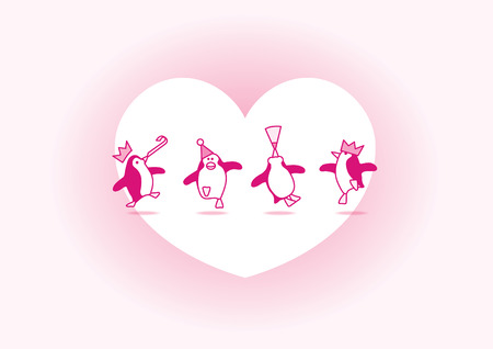 Four Happy Pink Penguins Dancing at a Party with White Heart and Soft Pink Background Vector